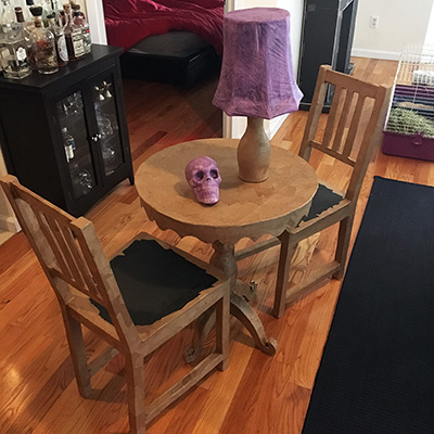 table and chairs set dining armchair covers paper maché for my séance halloween party!   manning makes stuff