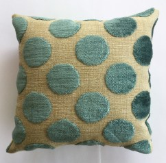 "Heart Love Green Polka dots (back), 8"" square small art pillow, available for $30"