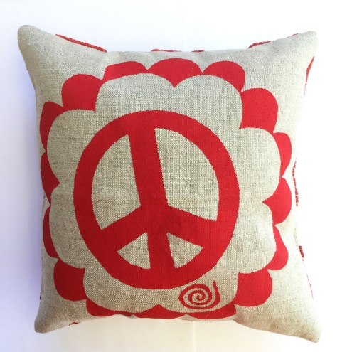"Peace Sign and Polka Dots, small art pillow, 8"" square, available for $30"