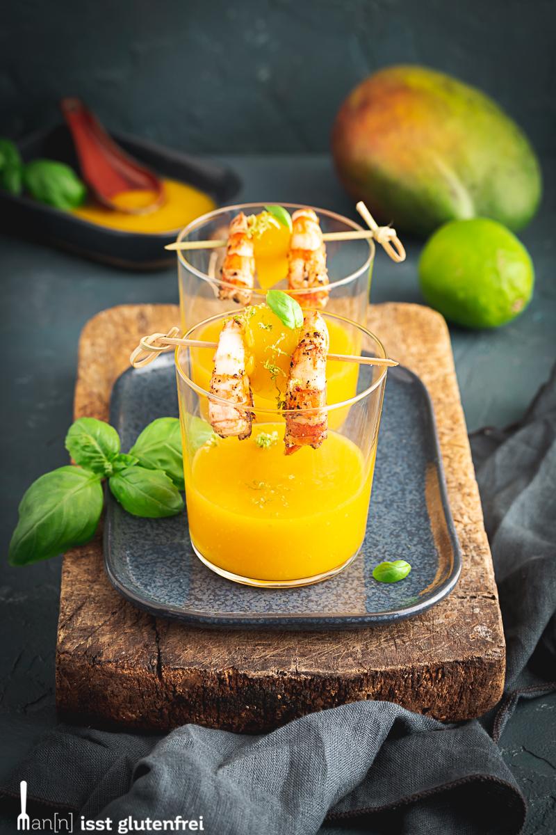 Garnelen mit Mangodip im Glas - Fingerfood glutenfrei