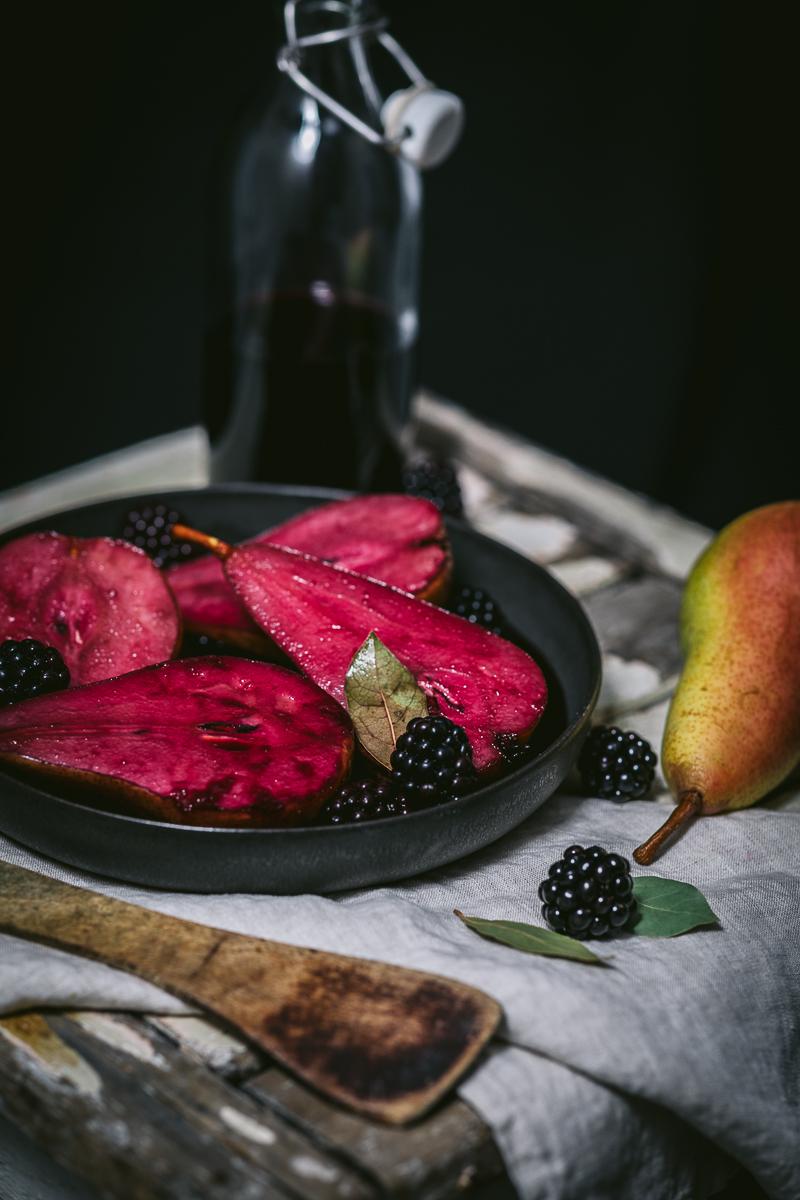 Rotwein Cassis Birnen mit Brombeeren -Rotwein Cassis Birnen mit Brombeeren - glutenfrei  und laktosefrei