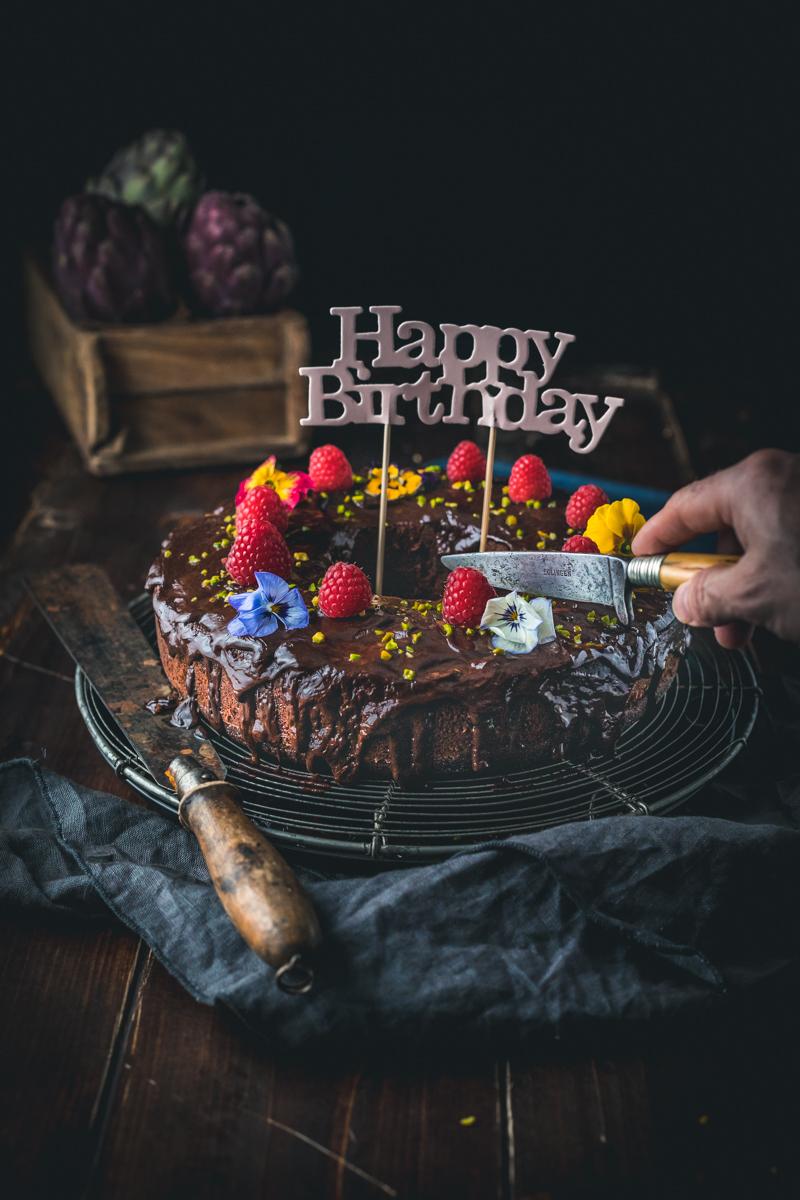 Schoko Gugelhupf mit Frischkäse Himbeer Füllung– glutenfrei und laktosefrei