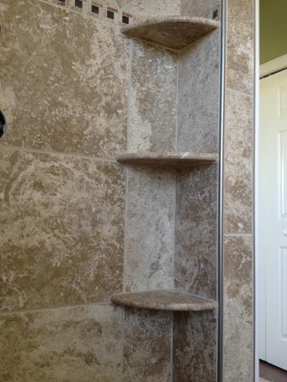 three marble corner shelves