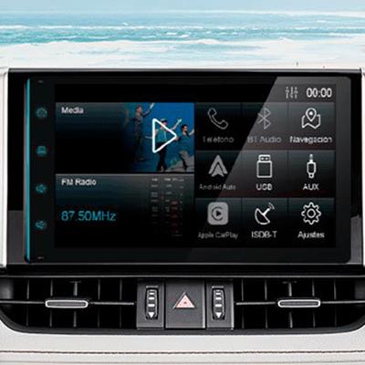 """RADIO TOUCHSCREEN DE 8""""   Una radio de 8"""" completamente nueva, con radio, MP3, bluetooth, Apple CarPlay®, Android Auto®, TV y puerto USB en el panel central para que disfrutes al máximo tu viaje y música (Imagen referencial)."""
