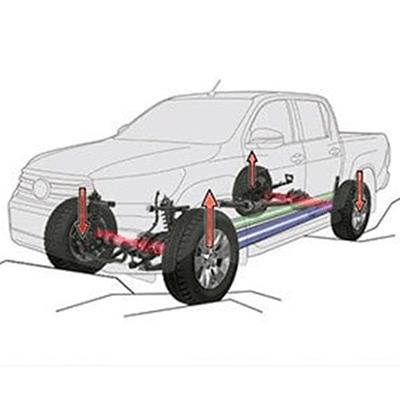 A-TRC (Control de Tracción Activa)   Controla la presión del frenado independientemente en cada rueda al acelerar en condiciones de 4x4, distribuyendo la fuerza (que normalmente se perdería) de forma optimizada, a las ruedas con mayor agarre. Sistema A-TRC disponible en versiones 4x4 (doble cabina). Sistema TRC disponible en versiones 4x2 (doble cabina).