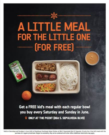 Shophouse Kids Eat Free June 2016