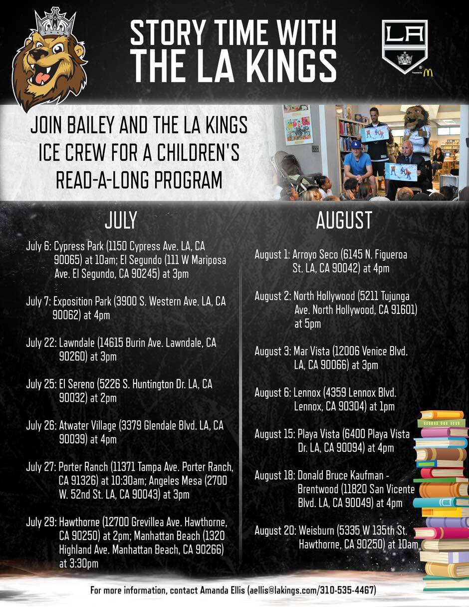 LA Kings Storytime Schedule 2016