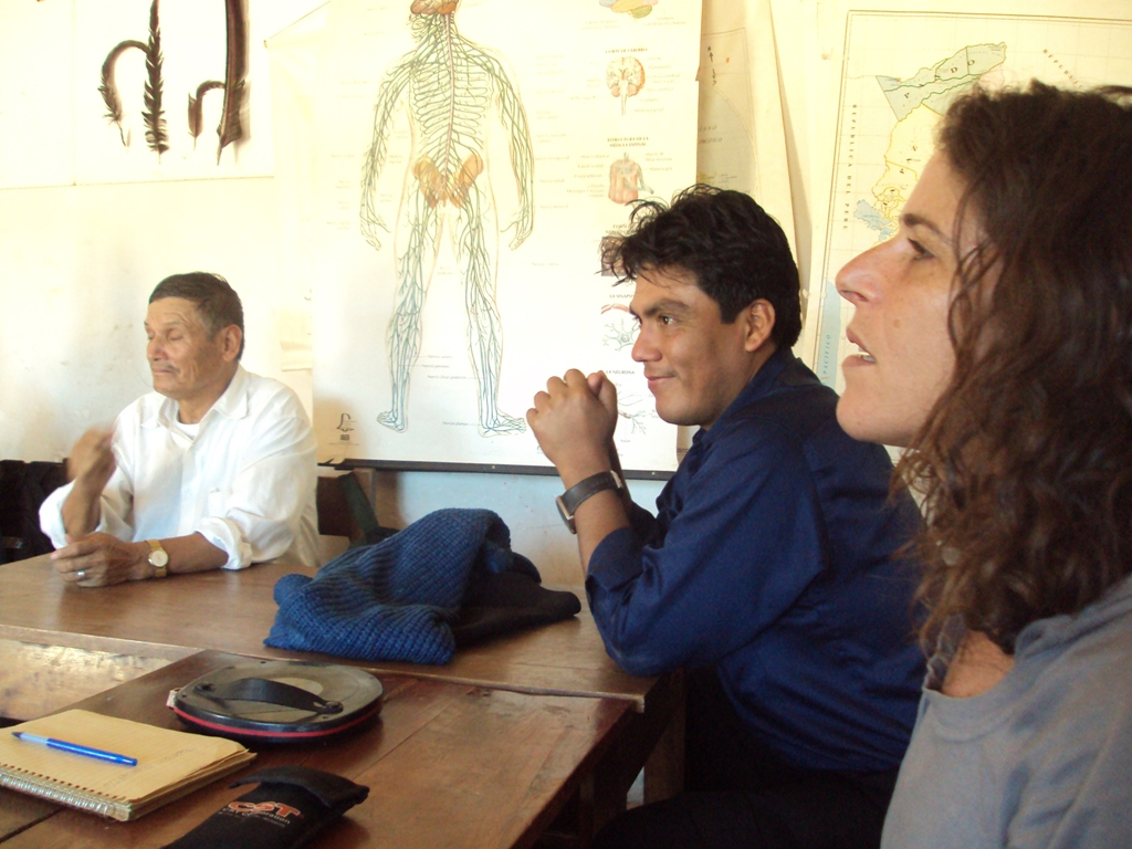 Hector Arce (blue shirt) in one of the many meetings with Mano a Mano over the past decade. This meeting was in 2011, regarding the possibility of building the footbridge (Bridges to Prosperity representative Netta is on the right).