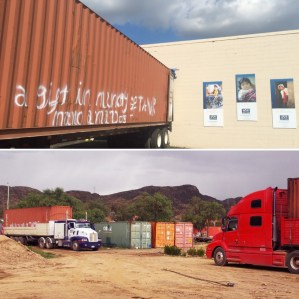 """Top: One of 5 containers at Mano a Mano in St. Paul, MN in August 2017; Bottom: all 5 containers arriving at Mano a Mano in Cochabamba, Bolivia in early 2018. """"A gift in memory of Tamar"""" was tagged on each container (it's partially visible on the red container on the far left arriving in Bolivia)."""