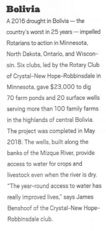 Mano a Mano Water Project in March 2019 Rotarian Magazine
