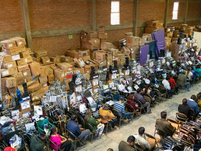 Distributing donated supplies sent from Minnesota at our warehouse in Cochabamba in September.