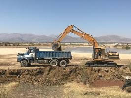 Starting work on the Laguna Sulti water reservoir expansion, August 2019.