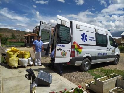 Distributing supplies to Hospital Cochabamba.