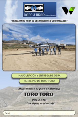 Dedication brochure for the improved runway in Toro Toro, Bolivia, completed in May 2021.