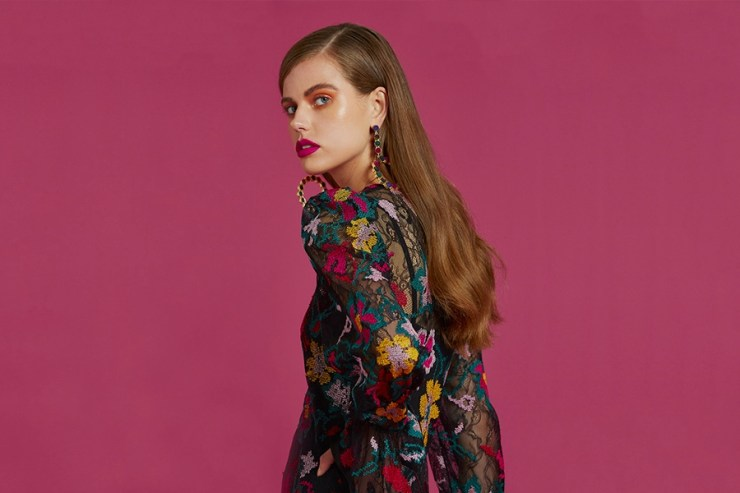 Model in floral by johnny dress