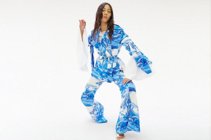 model in blue ellery dress