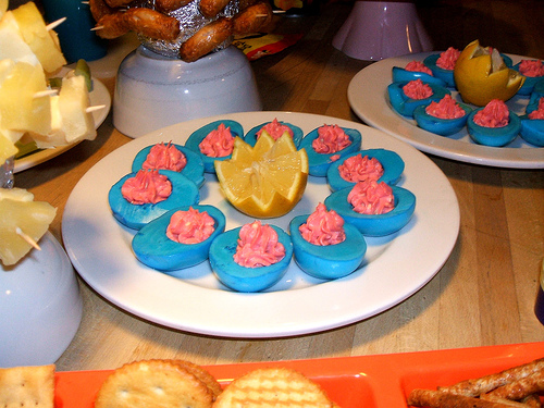Blue curried deviled eggs
