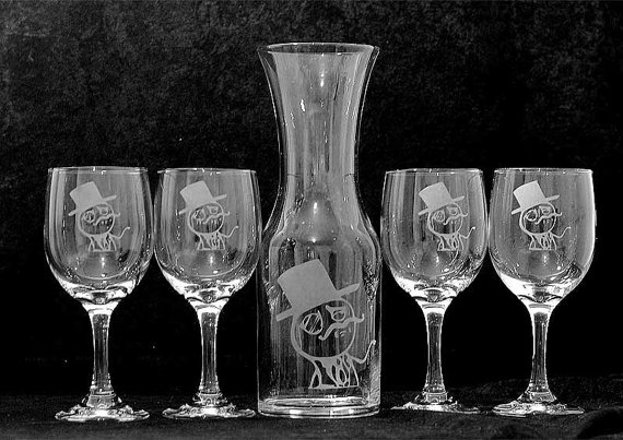 Lulzsec carafe and wineglasses