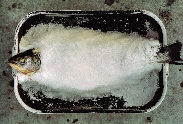 Salt baked salmon