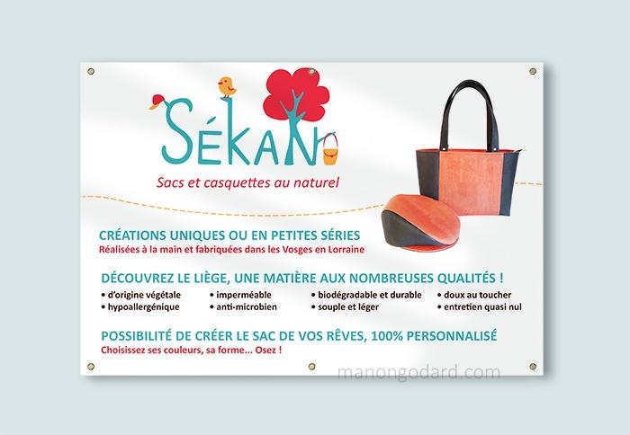 Bâche banderole pour la marque SeKaN, entrepreneuse créatrice de sacs, couturière. Graphiste : Manon Godard