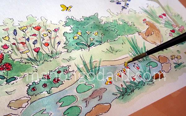 Illustration, étape de l'aquarelle