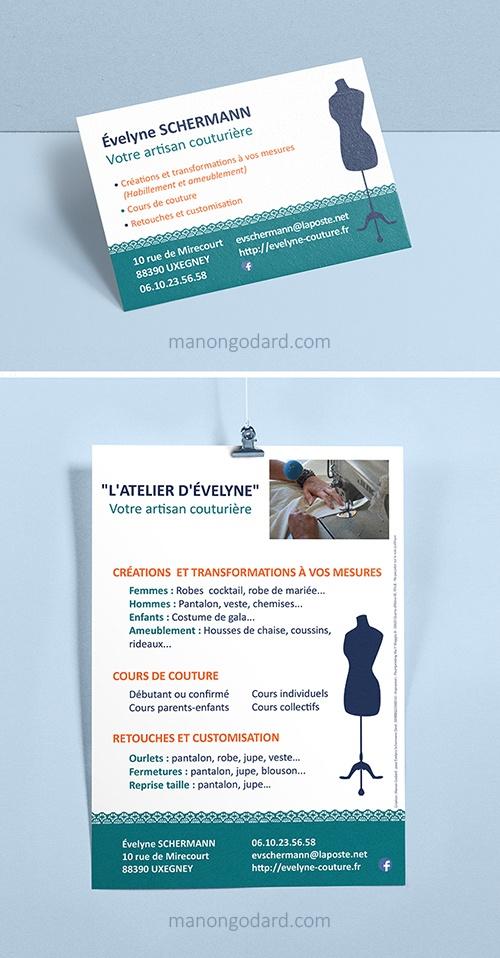 Carte de visite et flyer pour Evenyle Schrmann, entrepreneuse créatrice artisan couturière - Graphiste : Manon Godardc