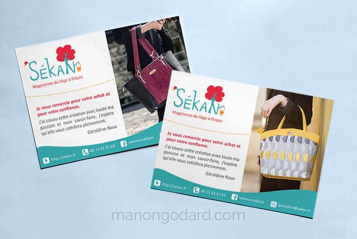 Flyer pour la marque SeKaN, entrepreneuse créatrice de sacs, couturière. Graphiste : Manon Godard