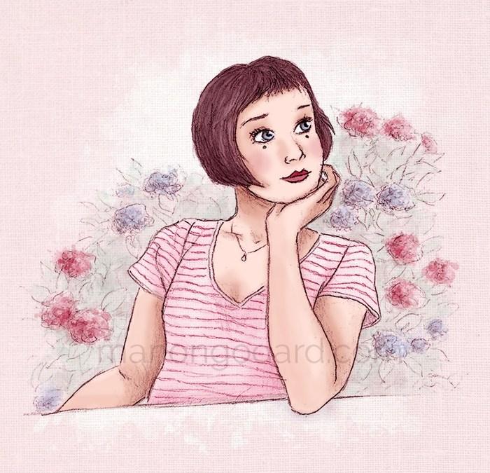«Judith près des hortensias» (+ vidéo du dessin et réflexion)