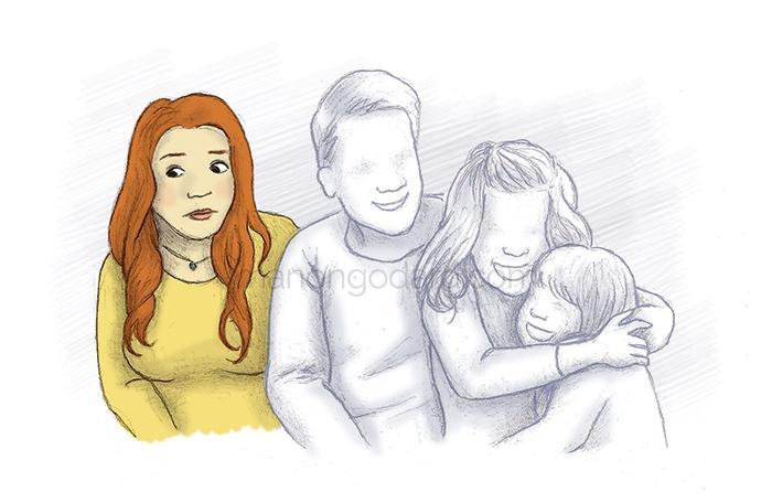 Illustration déprime, la charge mentale, manque d'épanouissement dans la vie familiale, bore-out, burn-out, dépression - par Manon Godard