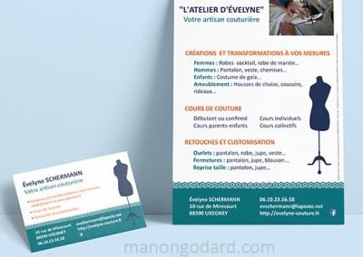 Carte de visite et flyer pour L'Atelier d'Evelyne