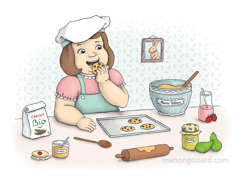 Illustration pour les locaux (cuisine) de Maison Calisson, entrepreneuse assistante maternelle - Petite fille préparant des cookies - Gr