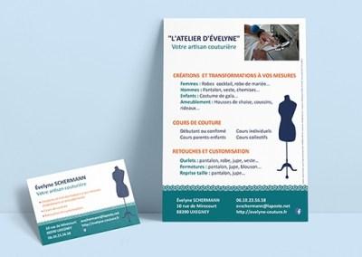 Carte de visite et flyer pour L'Atelier d'Evelyne, couturière