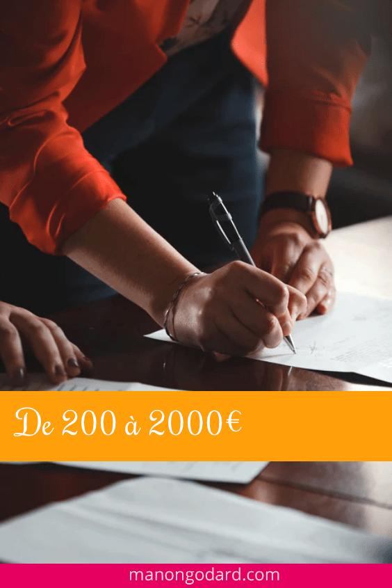 De 200 à 2000€