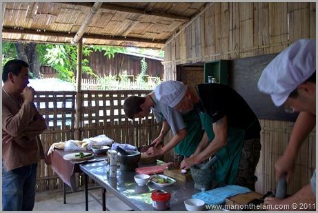 Cutting Vegetables, Thai Cooking Class, Pai Thailand