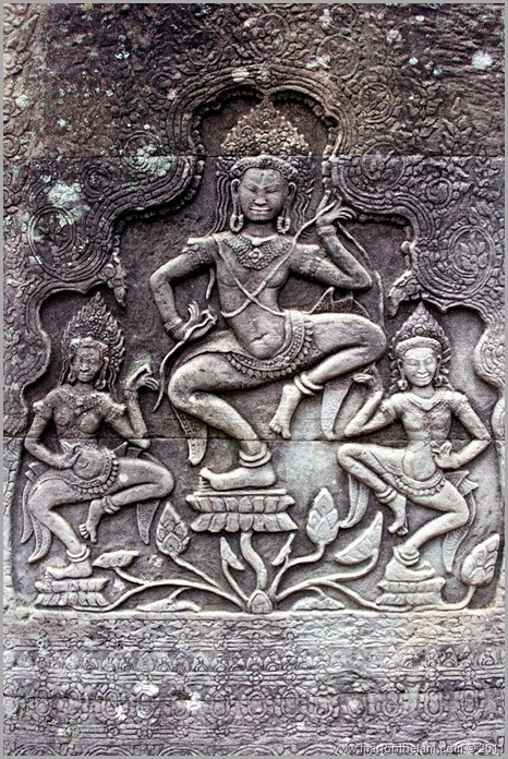 Dancing bas-relief, Bayon, Angkor, Cambodia