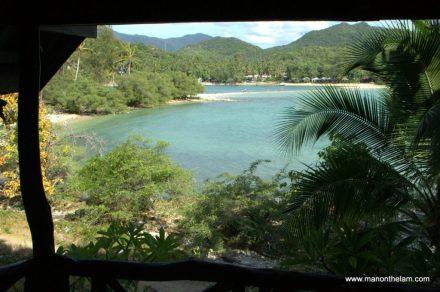 View of sandbar to Mae Haad Beach from bunglaow, Koh Ma