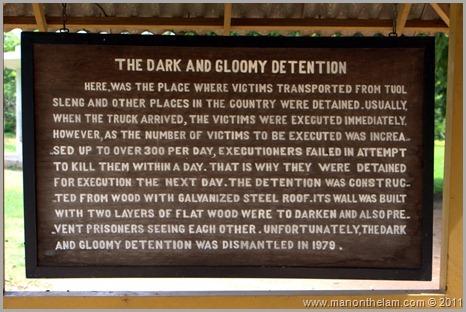 Dark and Gloomy Detention Sign, Choeung Ek, Cambodia
