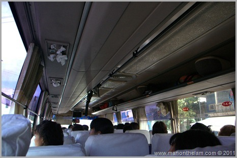 air condtioning vents on bus stuffed with tissues and curtains siem reap to phnom pehn cambodia