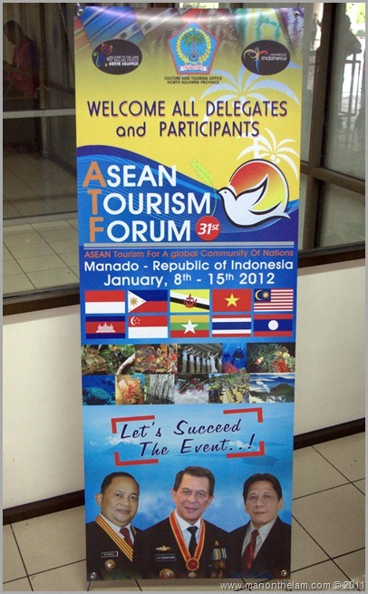 ASEAN Tourism Forum -- sign at Manado airport -- ATF 2012 Indonesia