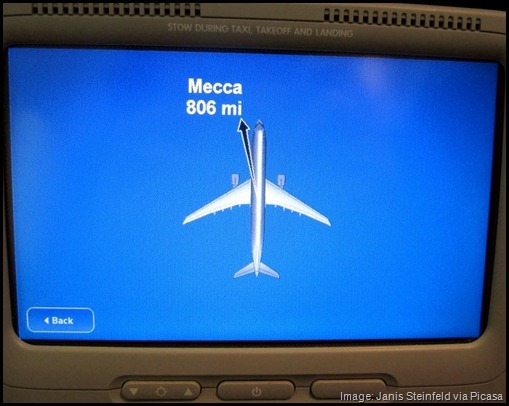 Airplane TV showing direction of Mecca Alaska Airlines