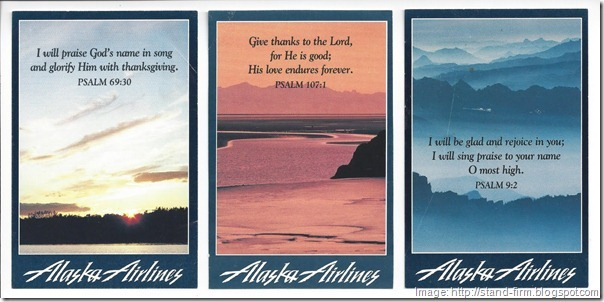 Alaska Airlines prayer cards