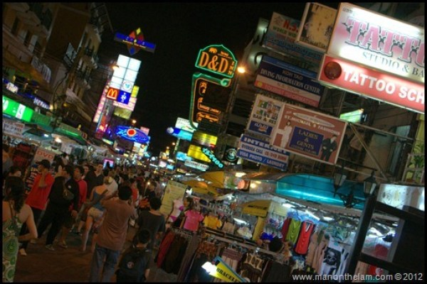 Khao San Road at night, Bangkok, Thailand