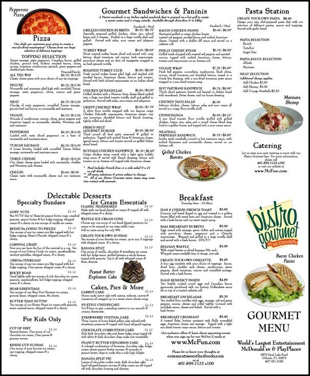 McDonald's-Gourmet-Menu-Orlando-Sand-Lake-Road-Menu