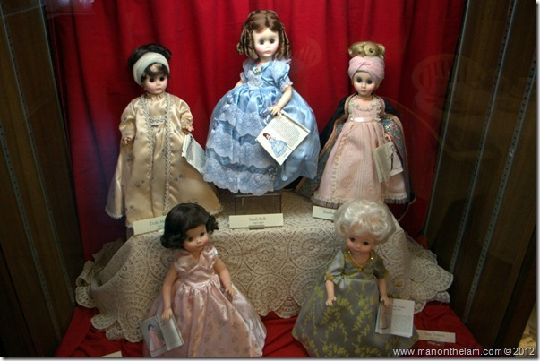 First Ladies dolls -- Dolly Madison, Sarah Polk, Martha Jefferson, Mamie Eisenhower, Bess Truman