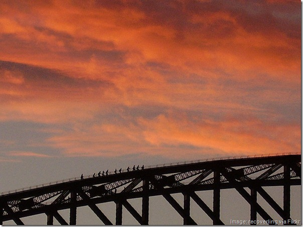 Syndey Harbour Bridge climb at sunset