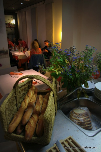 La Calendula Restaurant Girona Spain flowers and bread