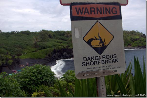 Black sand beach at Waianapanapa State Wayside Park, Maui, Hawaii-110