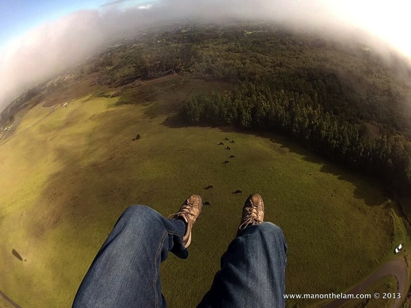 View of Maui upcountry from Paraglider
