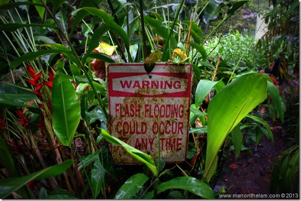 Warning flash flooding can occur at any time sign, Hana Highway, Maui