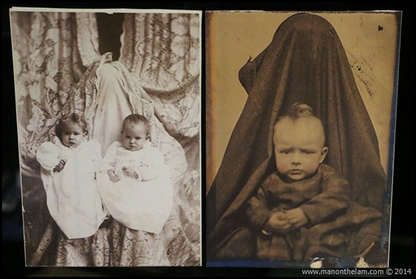 1800s baby and child photos with mother in backgound covered in blanket or curtain